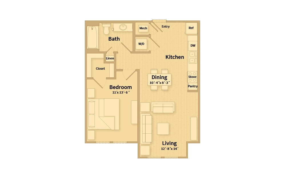 A1B - 1 bedroom floorplan layout with 1 bath and 682 square feet.