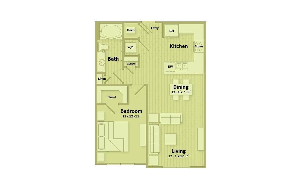 A1D - 1 bedroom floorplan layout with 1 bath and 778 square feet.