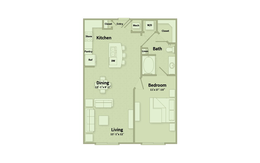A1G - 1 bedroom floorplan layout with 1 bath and 835 square feet.