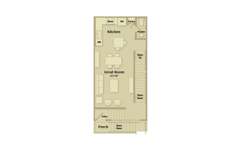 A2A - 1 bedroom floorplan layout with 1.5 bath and 1056 square feet. (Floor 2)