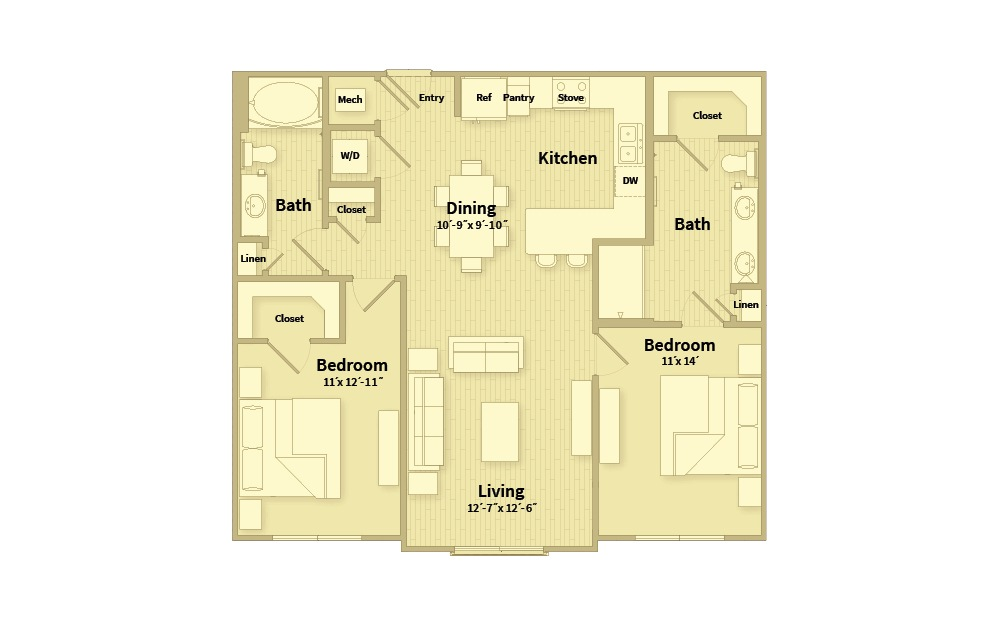 B2B - 2 bedroom floorplan layout with 2 baths and 1133 square feet.