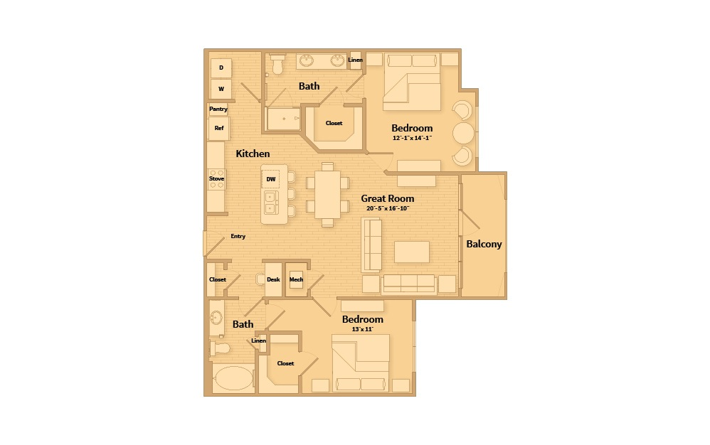 B2C - 2 bedroom floorplan layout with 2 baths and 1177 square feet.