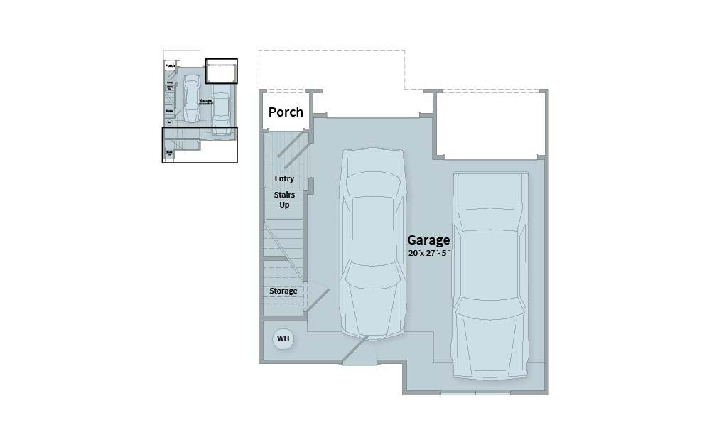 B3A - 2 bedroom floorplan layout with 2.5 baths and 1461 square feet. (Floor 1)