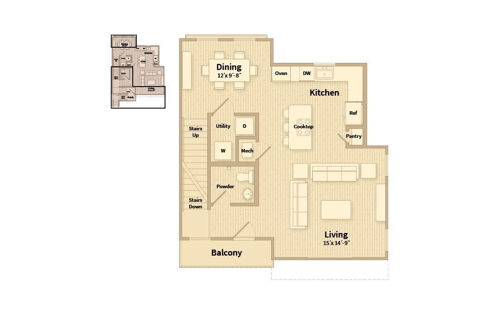 B3C - 2 bedroom floorplan layout with 2.5 baths and 1548 square feet. (Floor 2)