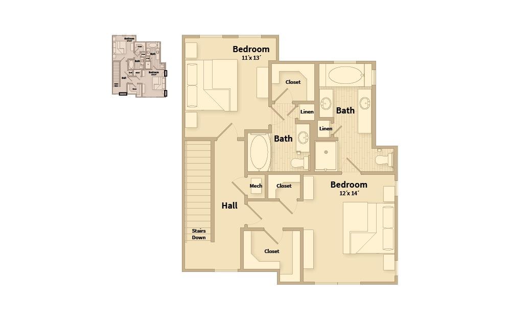 B3C - 2 bedroom floorplan layout with 2.5 baths and 1548 square feet. (Floor 3)
