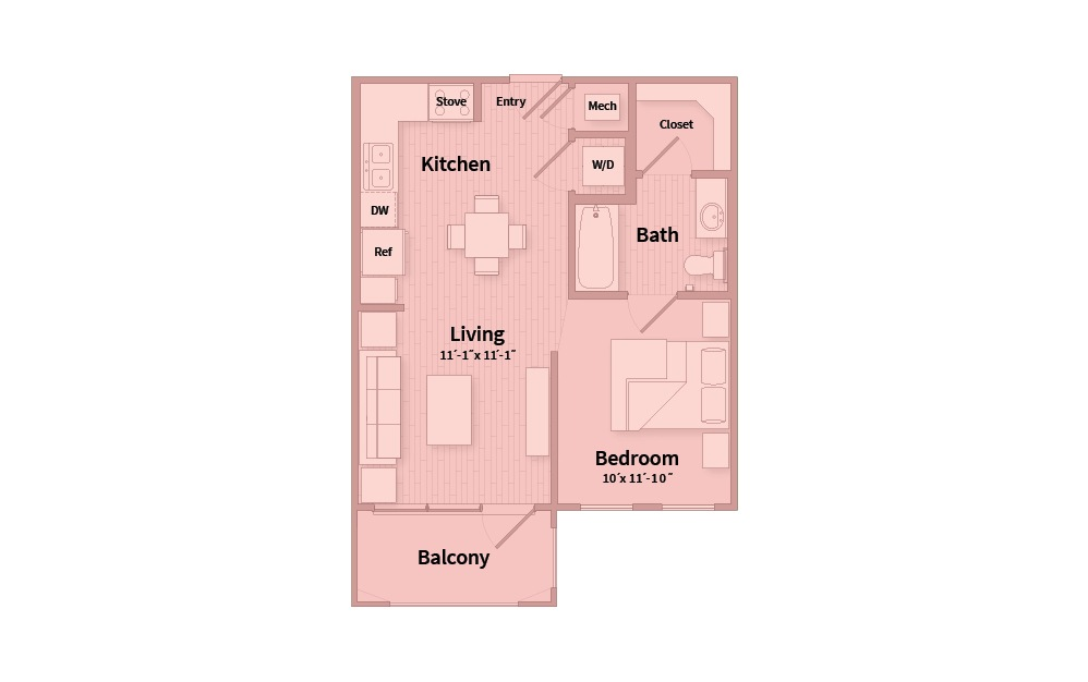 S1A - Studio floorplan layout with 1 bath and 545 square feet.